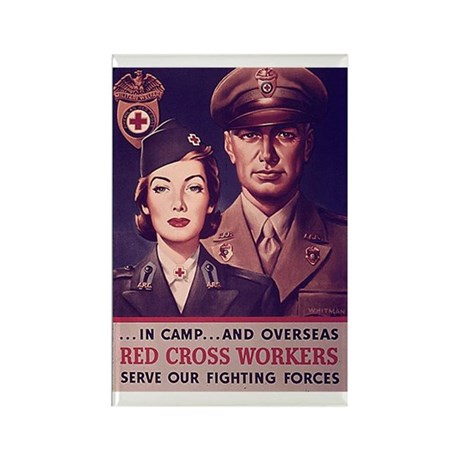 Red Cross Workers Rectangle Magnet (100 pack)