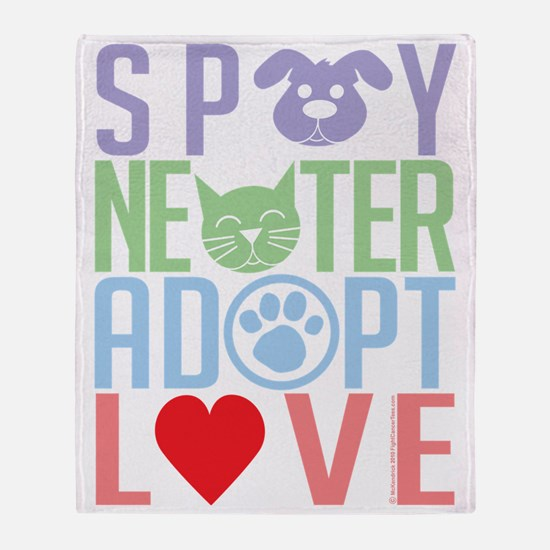 Spay-Neuter-Adopt-Love-2010 Throw Blanket