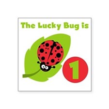 "LUCKYBUGFIRSTBDAY Square Sticker 3"" x 3"""