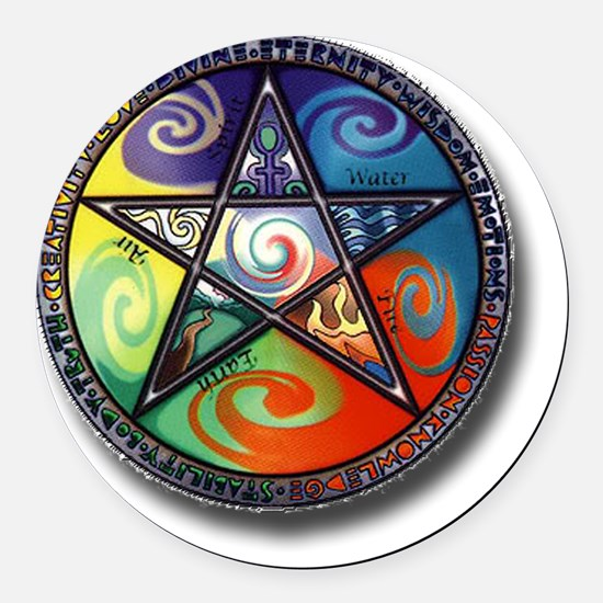 pentacle elements Round Car Magnet