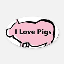 Pigs I love-001 Oval Car Magnet