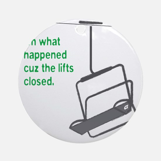 Snowsports_Lifts_Closed_Green Round Ornament