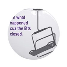 Snowsports_Lifts_Closed_Purple Round Ornament