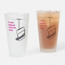 Snowsports_Lifts_Closed_Pink Drinking Glass