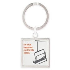 Snowsports_Lifts_Closed_Orange Square Keychain