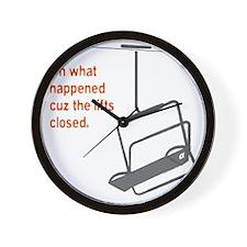 Snowsports_Lifts_Closed_Orange Wall Clock