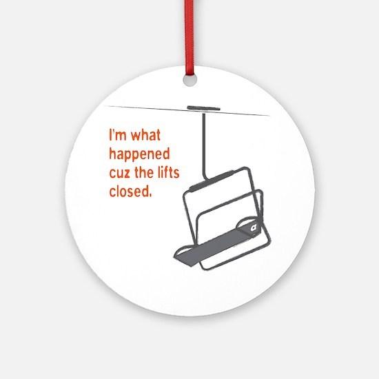 Snowsports_Lifts_Closed_Orange Round Ornament