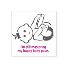 "Yoga_HappyBaby_Pink Square Sticker 3"" x 3"""