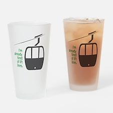 Snowsports_Lift_Lines_Green Drinking Glass