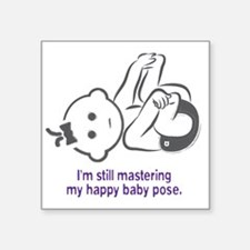 "Yoga_HappyBaby_Purple Square Sticker 3"" x 3"""
