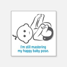 "Yoga_HappyBaby_Blue Square Sticker 3"" x 3"""