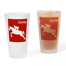 iJump Horses.eps Drinking Glass