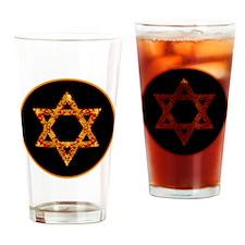 GoldleafStarofDavidBr Drinking Glass