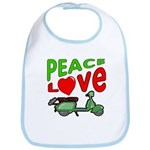 Peace Love Motor Scooter Bib