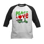 Peace Love Motor Scooter Kids Baseball Jersey
