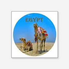 "Egypt - camels logo round Square Sticker 3"" x 3"""