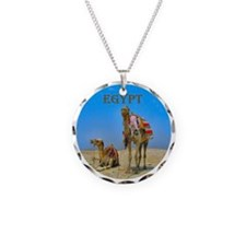Egypt - camels logo round Necklace