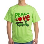 Peace Love Motor Scooter Green T-Shirt