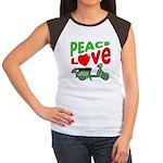 Peace Love Motor Scooter Women's Cap Sleeve T-Shir