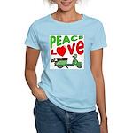 Peace Love Motor Scooter Women's Pink T-Shirt