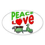 Peace Love Motor Scooter Oval Sticker