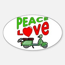 Peace Love Motor Scooter Oval Decal