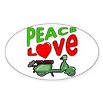 Peace Love Motor Scooter Oval Sticker