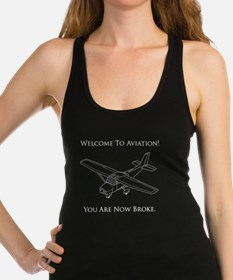 Aviation Broke White Text Racerback Tank Top