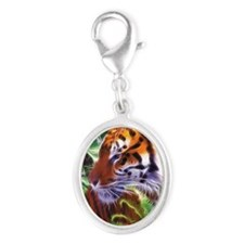 Tiger Silver Oval Charm