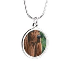 Irish_Setter_M1 Silver Round Necklace
