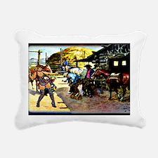 Sexy Cowgirl Holding Gun Rectangular Canvas Pillow