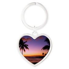 poipu_sunset Heart Keychain