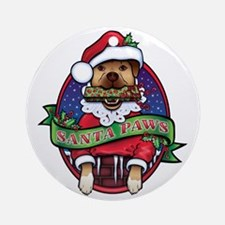 Santa Paws Round Ornament