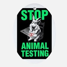 STOP ANIMAL TESTING Oval Ornament