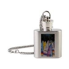 Hawaii. Catamarans on beach Flask Necklace