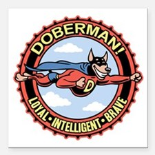 "doberman-T Square Car Magnet 3"" x 3"""