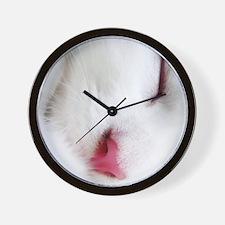 white cat mousepad Wall Clock