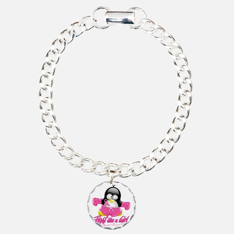 BC-Fighting-Penguin Charm Bracelet, One Charm