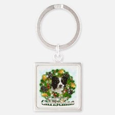 Merry Christmas Border Collie Square Keychain