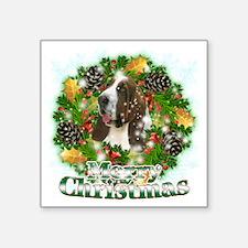 "Merry Christmas Bassett Hou Square Sticker 3"" x 3"""