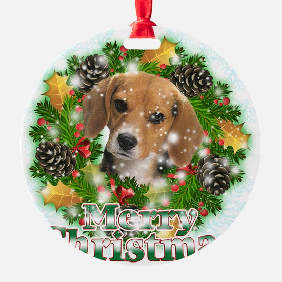 Merry Christmas Beagle Ornament