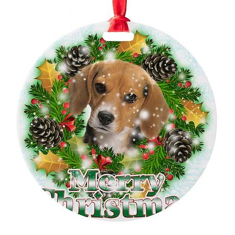Merry Christmas Beagle Round Ornament