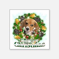 """Merry Christmas Beagle Square Sticker 3"""" x 3"""""""