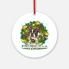Merry Christmas Boston Terrier Round Ornament
