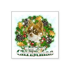 "Merry Christmas Chihuahua Square Sticker 3"" x 3"""
