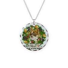 Merry Christmas Chihuahua Necklace Circle Charm