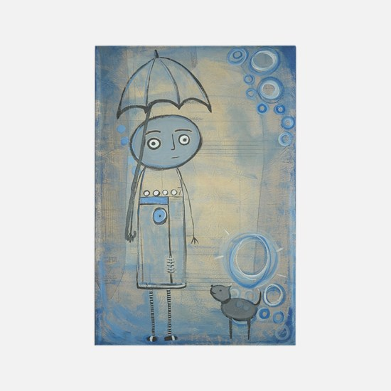 Blue Rain Dog Rectangle Magnet