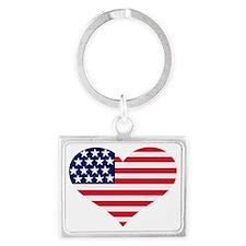 flag_US_heart Landscape Keychain