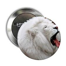 """White Lion pillow 2.25"""" Button"""
