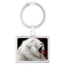 White Lion L print Landscape Keychain